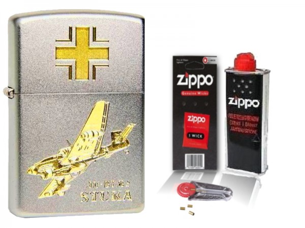 Zippo Kampfflugzeug STUKA JU 87 Gravur mit Zubehör L