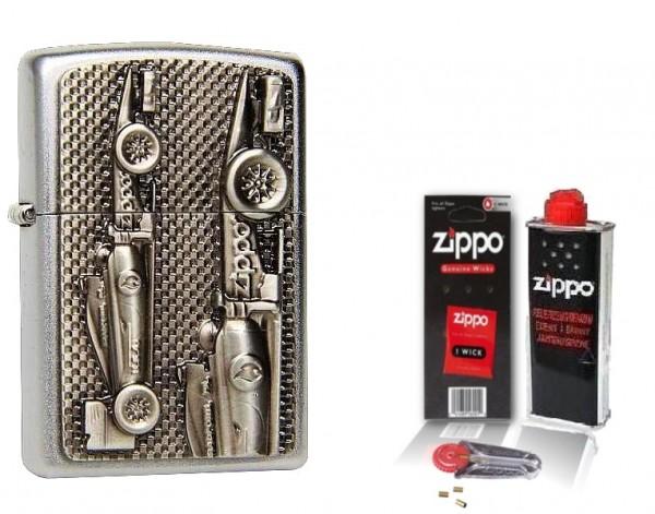 Zippo Feuerzeug FORMEL 1 Rennwagen Emblem mit Zubehör L