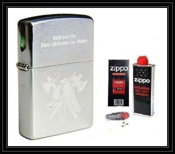 Zippo ® Feuerzeug Feuerwehr | Gott zur Ehr Chrome Brushed & Zubehör L