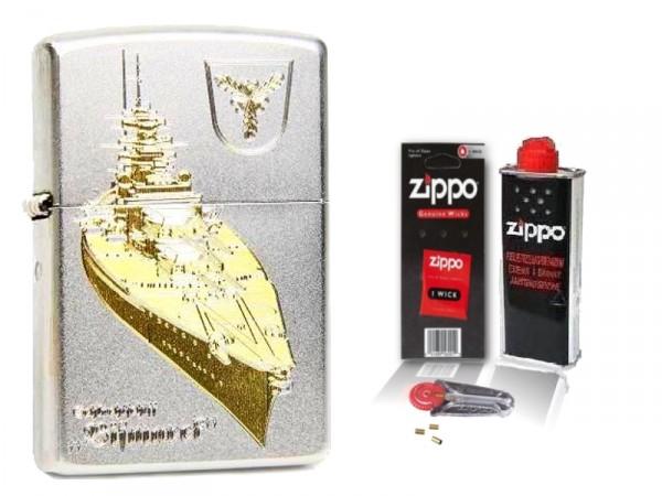 Zippo Feuerzeug Schlachtschiff Bismarck mit Zubehör L