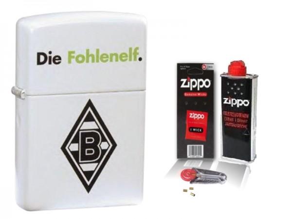 Zippo Borussia Mönchengladbach White Matte mit Zubehör L