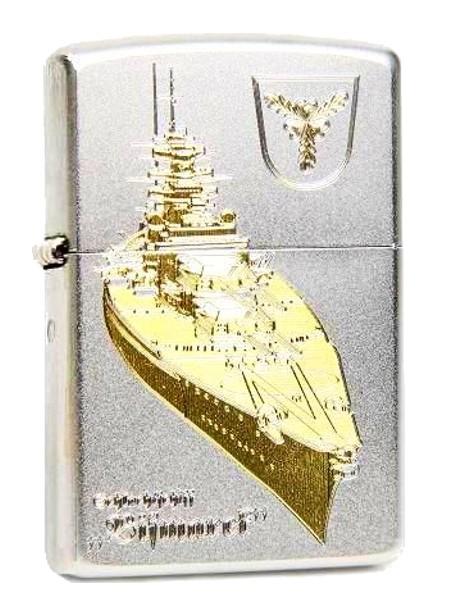 Zippo ® Feuerzeug Schlachtschiff Bismarck Gravur | Satin Chrome