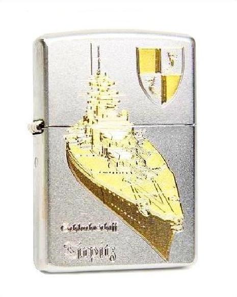 Zippo ® Feuerzeug Schlachtschiff Tirpitz Gravur | Satin Chrome