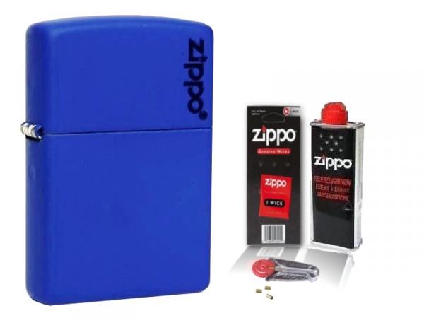 Zippo ® Feuerzeug Royal Blue Matte Logo & Zubehör L