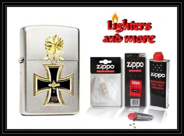 Zippo ® Feuerzeug Eisernes Kreuz 1939 Gravur | Satin mit Zubehör XL