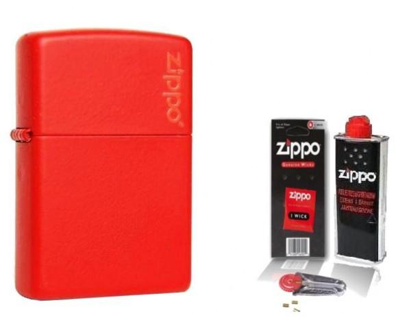 Zippo ® Feuerzeug Red Matte Logo & Zubehör L