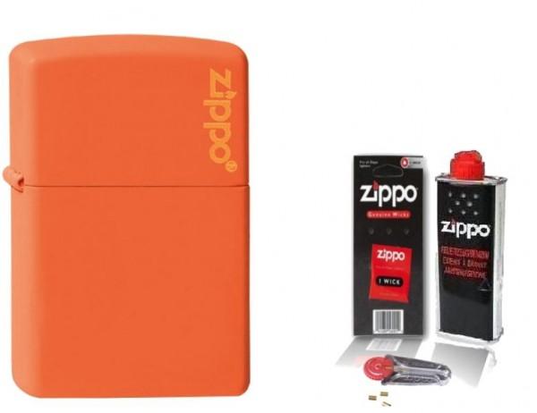 Zippo ® Feuerzeug Orange Matte Logo & Zubehör L