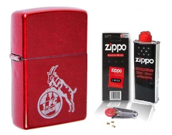 Zippo 1. FC KÖLN Candy Apple Red mit Zubehör L