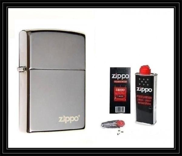 Zippo ® Feuerzeug Black Ice Logo & Zubehör L