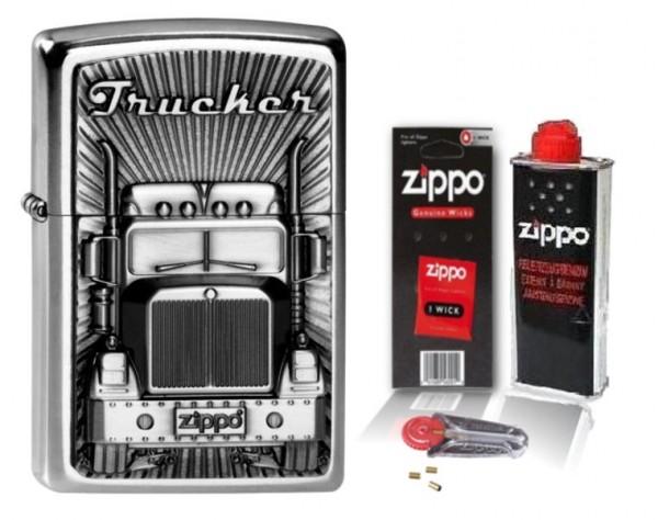 Zippo Feuerzeug Zippo Trucker Emblem mit Zubehör L