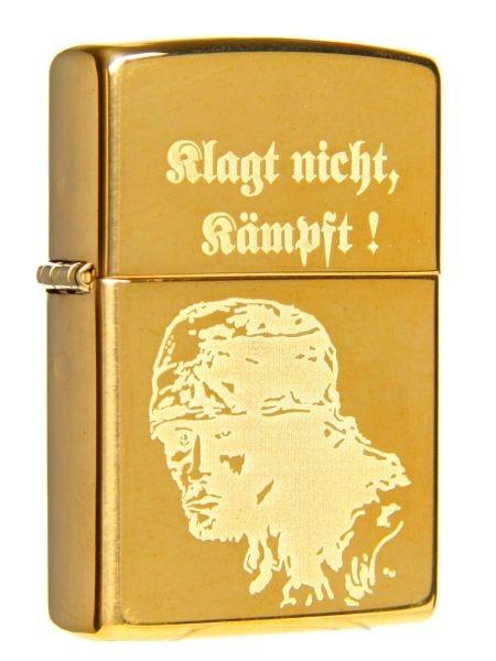 Zippo ® Feuerzeug Klagt nicht Kämpft Gravur Brass High Polished