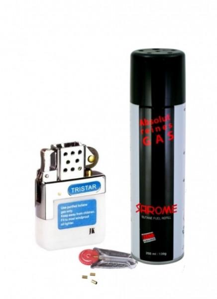 Benzin Feuerzeug Gaseinsatz Reibrad mit Sarome Gas und Zippo Feuersteine