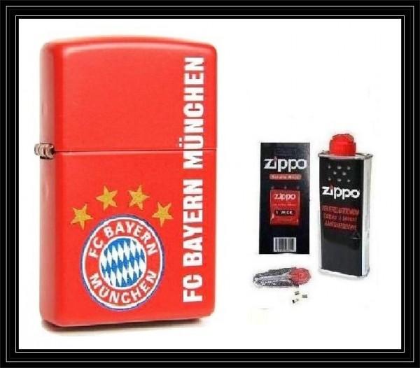 Zippo ® Feuerzeug FC Bayern München | Red Matte & Zubehör L