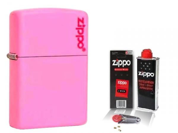 Zippo ® Feuerzeug Pink Matte Logo & Zubehör L