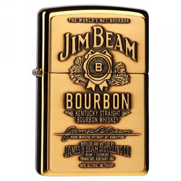 Zippo ® Feuerzeug Jim Beam Brass Label Emblem