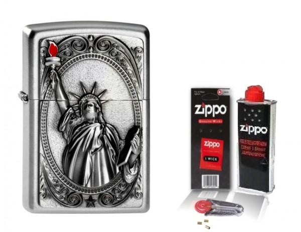 Zippo Feuerzeug Lady Liberty Emblem mit Zubehör L