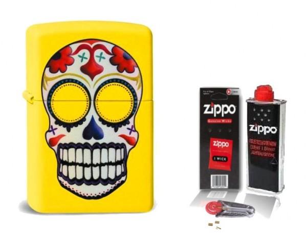Zippo Feuerzeug Day Of Dead Lemon mit Zubehör L