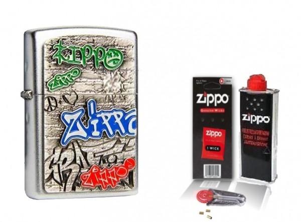 Zippo Feuerzeug Graffiti Emblem mit Zubehör L