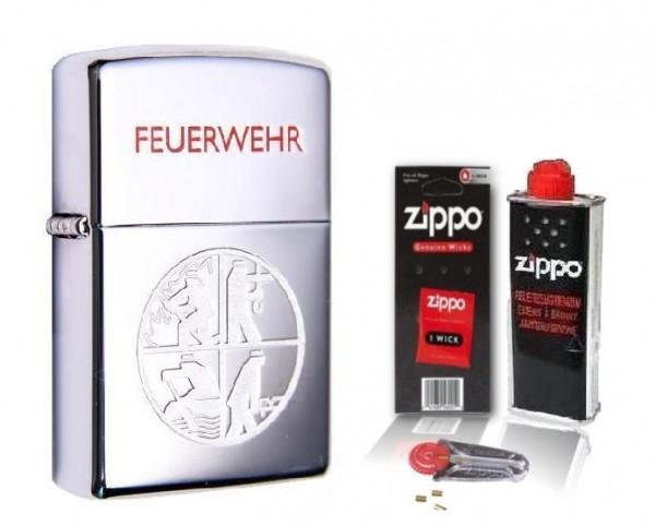 Zippo Feuerwehr Chrome Polished Circle mit Zubehör L