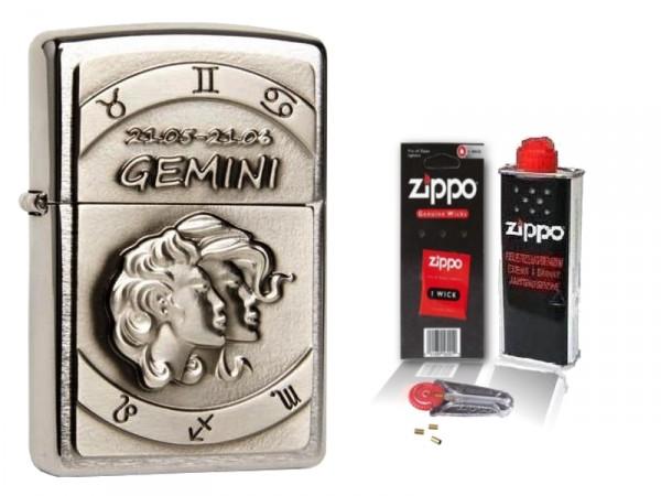 Zippo Feuerzeug Sternzeichen Zwilling Emblem & Zubehör L